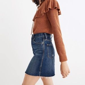 NWT Madewell Rigid Denim Straight Mini Skirt 30